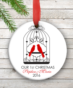 W2W-HO00007 RED LOVE BIRDS WEDDING COUPLES 1st Personalized Our First Christmas Ornament Porcelain Holiday by Personalize it FREE