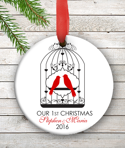 love birds personalized our first christmas ornament wedding couples