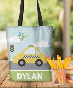 KTOT-00007 Kids Taxi Cab Personalized Tote Bag Transportation Theme for Sports, Dance, Swim, Travel by Personalize it FREE