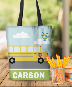 KTOT-00008 Kids School Bus Personalized Tote Bag Transportation Theme for Sports, Dance, Swim, Travel by Personalize it FREE