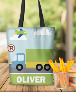 KTOT-00010 Kids Big Trucks Personalized Tote Bag Transportation Theme for Sports, Dance, Swim, Travel by Personalize it FREE