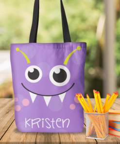 KTOT-00012 Purple Kids Little Monsters Personalized Tote Bag Transportation Theme for Sports, Dance, Swim, Travel by Personalize it FREE