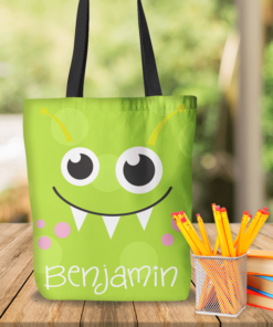 KTOT-00013 Green Kids Little Monsters Personalized Tote Bag Transportation Theme for Sports, Dance, Swim, Travel by Personalize it FREE