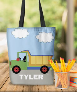 KTOT-00016 Dump Truck Construction Kids Personalized Tote Bag Transportation Theme for Sports, Dance, Swim, Travel by Personalize it FREE