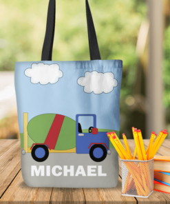 KTOT-00017 Cement Truck Construction Kids Personalized Tote Bag Transportation Theme for Sports, Dance, Swim, Travel by Personalize it FREE