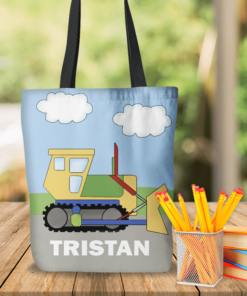 KTOT-00018 Bulldozer Construction Kids Personalized Tote Bag Transportation Theme for Sports, Dance, Swim, Travel by Personalize it FREE