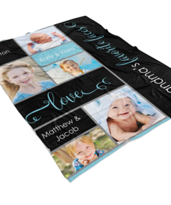 PIF-TB00001 My Favorite Faces Family Photo Collage Fleece Throw Blanket by Personalize it FREE