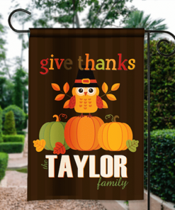 SGF-00012a Give Thanks Thanksgiving Pilgrim Owl Custom Personalized Banner Garden House Flag Decor by Personalize it FREE
