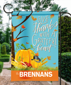 SGF-00015 Give Thanks Grateful Heart Thanksgiving Custom Personalized Banner Garden House Flag Decor by Personalize it FREE
