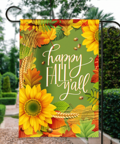 SGF-00041 Happy Fall Y'all Autumn Harvest Custom Personalized Banner Garden House Flag Decor by Personalize it FREE