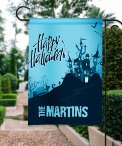 SGF-00403 Happy Halloween Haunted House Custom Personalized Birthday Banner Flag Decor by Personalize it FREE
