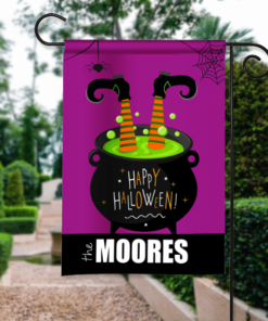 SGF-00412 Happy Halloween Garden Flag Whoops! Witches Brew Cauldron Custom Personalized Banner Flag Decor by Personalize it FREE