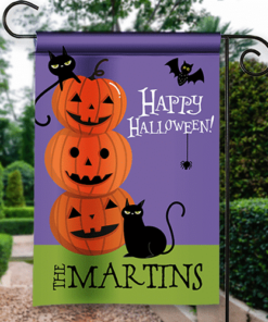 SGF-00543 Happy Halloween Black Cats & Pumpkins Custom Personalized Banner Flag Decor by Personalize it FREE