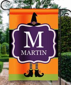 SGF-00545 Happy Halloween Garden Flag Witches Hat Monogram Custom Personalized Banner Flag Decor by Personalize it FREE