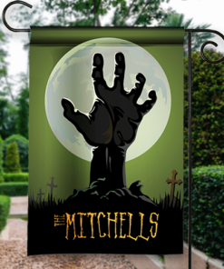 SGF-00546 Happy Halloween Garden Flag Creepy Zombie Hand Custom Personalized Banner Flag Decor by Personalize it FREE