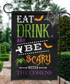 SGF-00551 Happy Halloween Garden Flag Eat Drink & Be Scary Custom Personalized Banner Flag Decor by Personalize it FREE