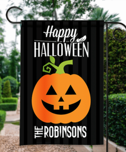 SGF-00552 Happy Halloween Garden Flag Jack-O-Lantern Pumpkin Custom Personalized Banner Flag Decor by Personalize it FREE