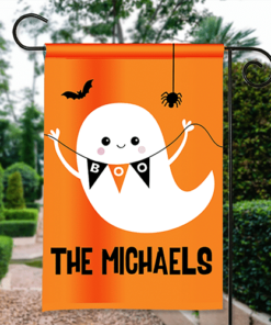 SGF-00554 Happy Halloween Garden Flag Boo! Friendly Ghost Custom Personalized Banner Flag Decor by Personalize it FREE