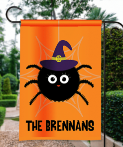 SGF-00556 Happy Halloween Garden Flag Witch Spider Custom Personalized Banner Flag Decor by Personalize it FREE