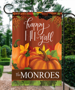 SGF-00557 Thanksgiving Garden Flag Happy Fall Y'all Harvest Personalized House Banner Custom Personalized Banner Garden House Flag Decor by Personalize it FREE