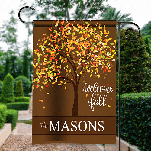 thanksgiving garden flag welcome fall family tree personalized house