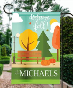SGF-00561Thanksgiving Garden Flag Autumn in the City Park Bench Personalized House Banner Custom Personalized Banner Garden House Flag Decor by Personalize it FREE