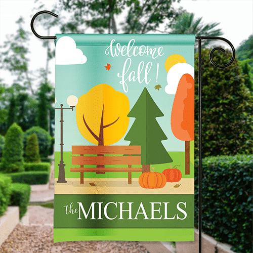 Thanksgiving Garden Flag Autumn In The City Park Bench Personalized House Banner