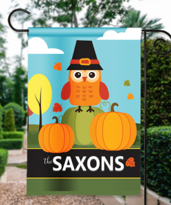 SGF-00568 Thanksgiving Garden Flag Pumpkin Patch Pilgrim Owl Personalized House Banner Custom Personalized Banner Garden House Flag Decor by Personalize it FREE