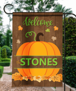 SGF-00571 Welcome Fall Pumpkin Custom Personalized Banner Garden House Flag Decor by Personalize it FREE