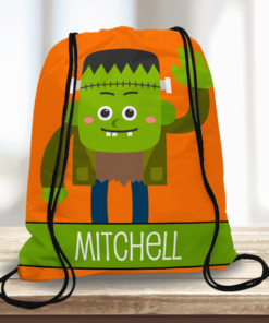 WW-KDT00019 Halloween Treat Bag Frankenstein Custom Personalized Drawstring Tote Bag by Personalize it FREE