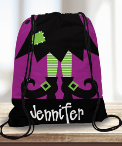 WW-KDT00020 Halloween Treat Bag Witch Feet Custom Personalized Drawstring Tote Bag by Personalize it FREE