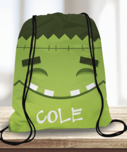 WW-KDT00021 Halloween Treat Bag Frankenstein Face Personalized Trick or Treat Kids Drawstring Tote Bag by Personalize it FREE