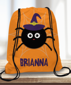 WW-KDT00022 Cute Spider Witch Personalized Trick or Treat Kids Drawstring Tote Bag by Personalize it FREE