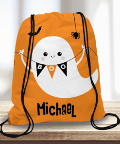 WW-KDT00023 Friendly Ghost Personalized Trick or Treat Kids Drawstring Tote Bag by Personalize it FREE