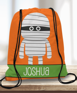 WW-KDT00027 Mummy Personalized Trick or Treat Kids Drawstring Tote Bag by Personalize it FREE