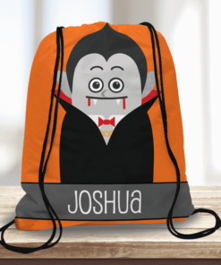 WW-KDT00028 Dracula Vampire Personalized Trick or Treat Kids Drawstring Tote Bag by Personalize it FREE