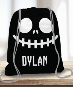 WW-KDT00030 Nightmare Skeleton Face Personalized Trick or Treat Kids Drawstring Tote Bag by Personalize it FREE