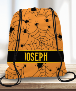 WW-KDT00032 Spiderwebs Personalized Halloween Trick or Treat Kids Drawstring Tote Bag by Personalize it FREE