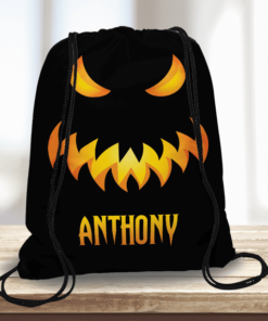 WW-KDT00033 Spooky Monster Face Personalized Halloween Trick or Treat Kids Drawstring Tote Bag by Personalize it FREE