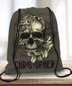 WW-KDT00035 Rock n Roll Skull Personalized Halloween Trick or Treat Kids Drawstring Tote Bag by Personalize it FREE