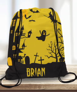 WW-KDT00037 Haunted House Scene Personalized Halloween Trick or Treat Kids Drawstring Tote Bag by Personalize it FREE