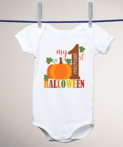 PIF-BO00004 Custom Personalized Baby Onesie Bodysuit Shirt MY FIRST HALLOWEEN PUMPKIN by Personalize it FREE
