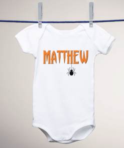 PIF-BO00005 Custom Personalized Baby Onesie Bodysuit Shirt Halloween Theme SPOOKY HALLOWEEN HANGING SPIDER by Personalize it FREE