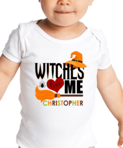 PIF-BO00006 Custom Personalized Baby Onesie Bodysuit Shirt Halloween Theme FUNNY WITCHES LOVE ME by Personalize it FREE