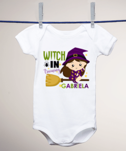 PIF-BO00007 Custom Personalized Baby Onesie Bodysuit Shirt FUNNY WITCHES LOVE ME HALLOWEEN THEME by Personalize it FREE