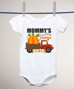 PIF-BO00008 Custom Personalized Baby Onesie Bodysuit Shirt MOMMY'S LITTLE PUMPKIN THANKSGIVING HALLOWEEN THEME by Personalize it FREE