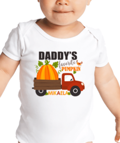 PIF-BO00009 Baby Onesie Bodysuit Shirt DADDY'S LITTLE PUMPKIN THANKSGIVING HALLOWEEN THEME by Personalize it FREE