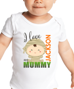 PIF-BO00010 Baby Onesie Bodysuit Shirt I LOVE MY MUMMY MOMMY HALLOWEEN THEME by Personalize it FREE