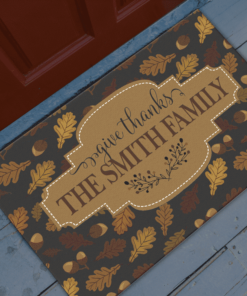 PIF-OFM00004 Give Thanks Thanksgiving Personalized Welcome Door Mat by Personalize it FREE