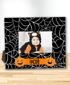 PIF-PF00003 MY FIRST HALLOWEEN SPIDERWEBS AND PUMPKINS Custom Personalized 8x10 Picture Photo Frame by Personalize it FREE